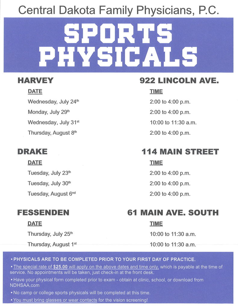 Central Dakota Sports Physical Dates