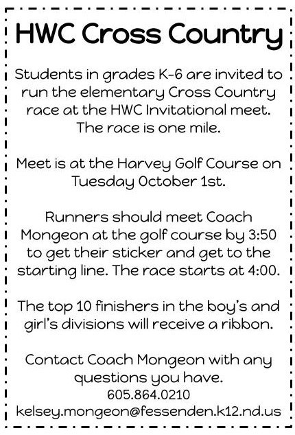 Elementary Cross Country race information