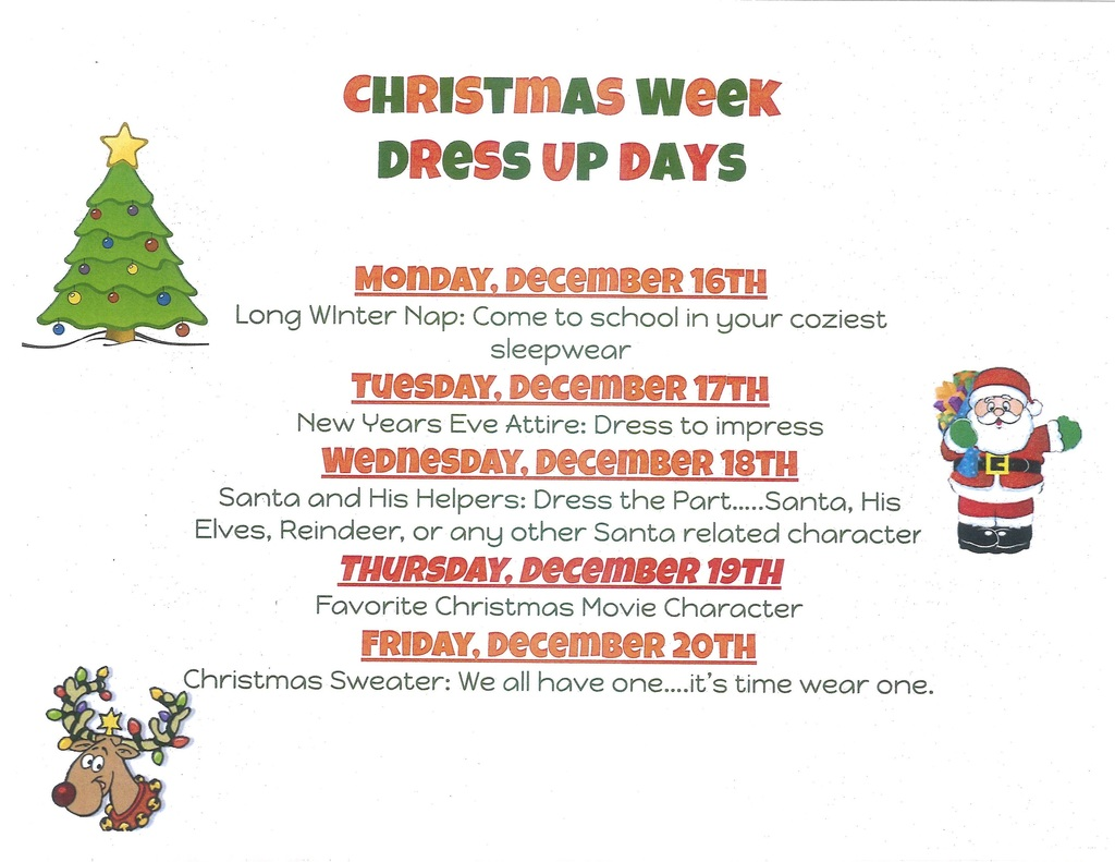 2019 Elementary Christmas Dress Up Days