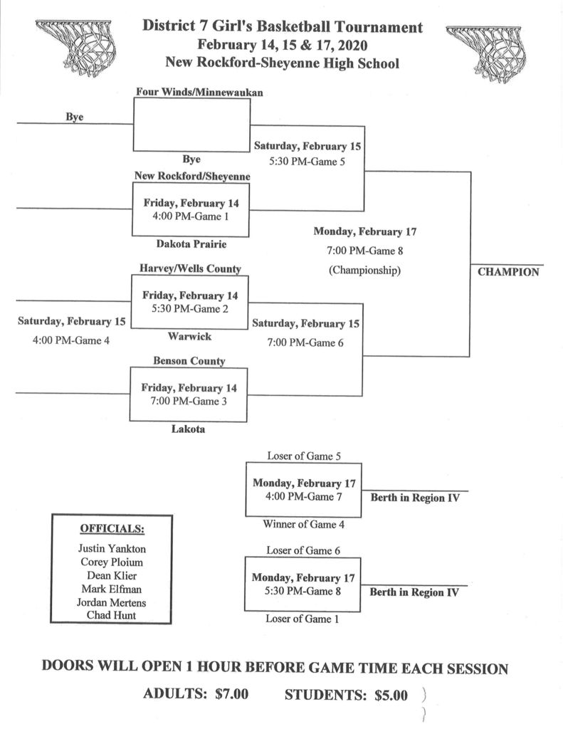 Girls District Basketball Tournament