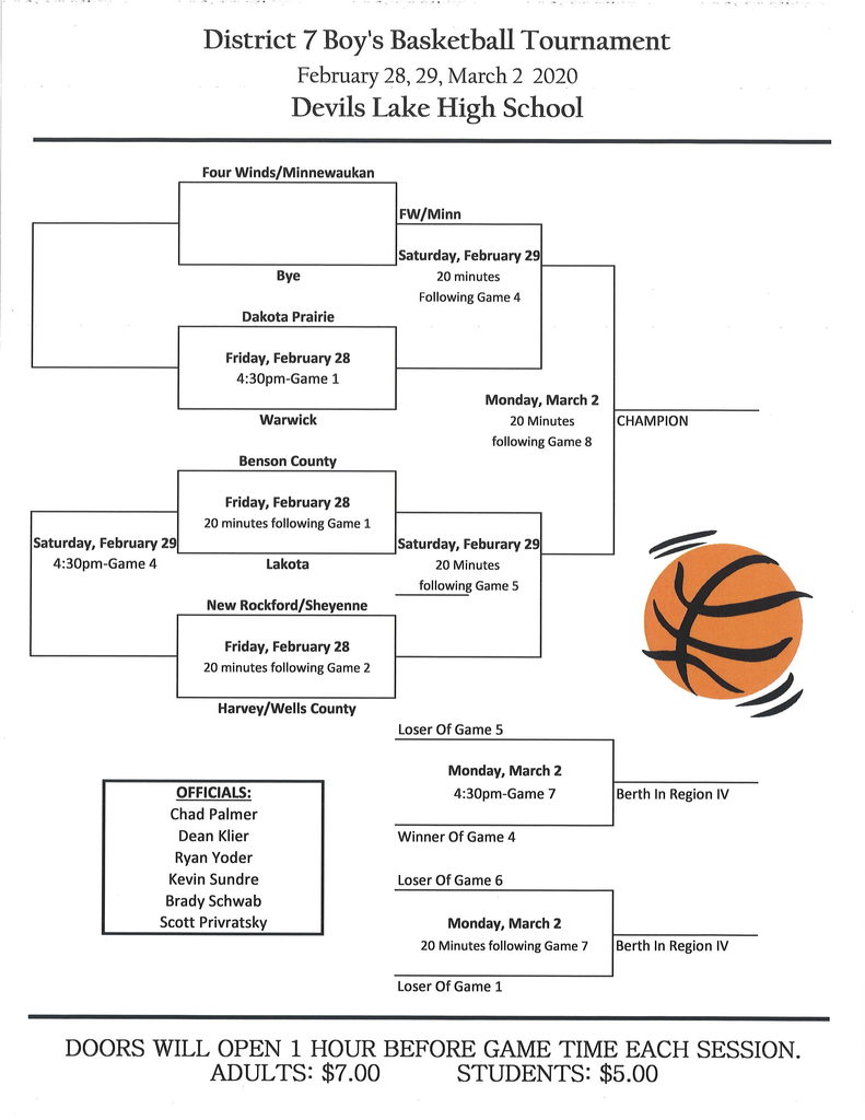 Boys District 7 Basketball Tournament Schedule
